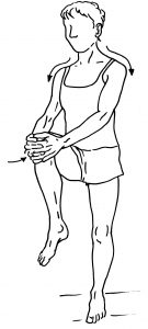 77a standing knee hug into hip extension